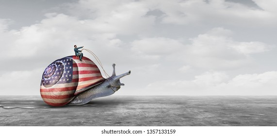 Slow United States action and US economy and slowing US economic growth as an American financial challenge and slow political Washington legislation by politicians in a 3D illustration style.