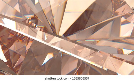 Slowly rotating diamond coral shade, beautiful background. 3d illustration