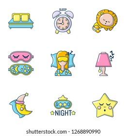 Slumber icons set. Cartoon set of 9 slumber icons for web isolated on white background