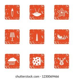 Slumber icons set. Grunge set of 9 slumber icons for web isolated on white background
