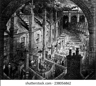 Slums of London, engraving by Gustave Dore, ca. 1850,
