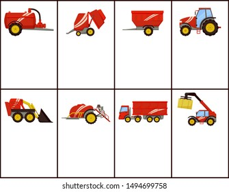 Slurry tanker and baler posters set with text sample. Machinery trailed sprayer and loader. Tractor and grain trailer, truck transporting crop raster