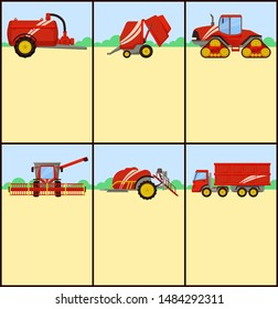 Slurry tanker with container and tractor driving. Posters set with text sample and machinery bale stacker, baler and combine, grain truck van raster