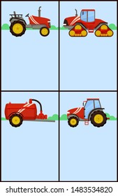 Slurry tanker with reservoir and pipe and different tractors on fields. Posters set with text and agricultural devices and machinery, machines raster