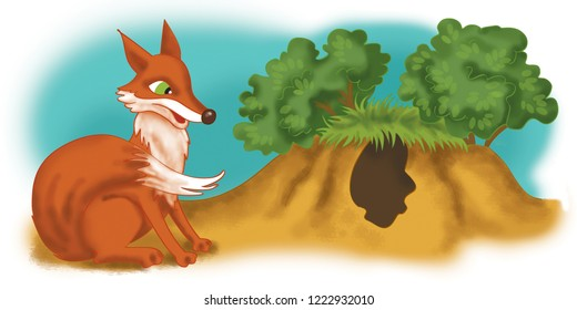 Sly fox in raster. It will be useful for teaching children.