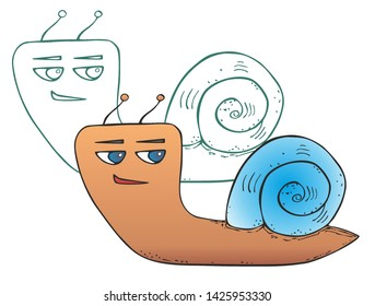 sly grinning funny cartoon snail against the background her silhouette