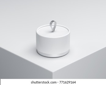 Smal cylindrical Tube Tin can Packaging Mockup with silver loop, 3d rendering