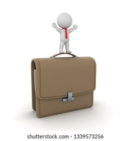 Small 3D character with a large briefcase. Isolated on white background.