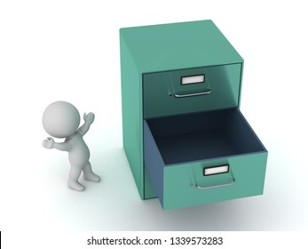Small 3D character with a large metal archiving cabinet with an empty drawer. Isolated on white background.