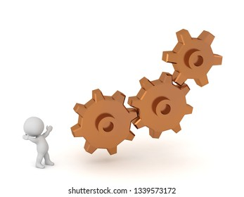 Small 3D character looking up at a system of gears. Isolated on white background.