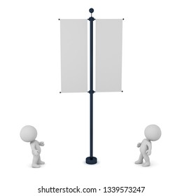 Small 3D characters looking at a banner. Isolated on white background.