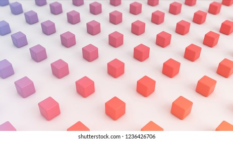 Small 3d multi color cubes abstract digita background. 3D illustration