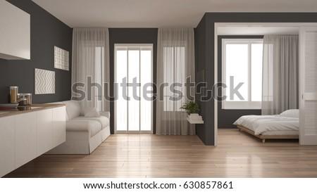 Small Apartment Kitchen Living Room Bedroom Stock Illustration ...