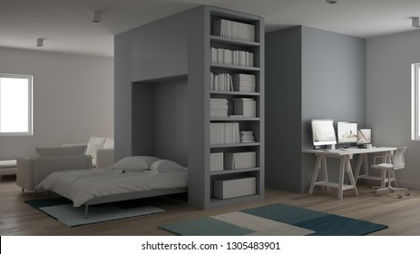 Small apartment, one-room with parquet floor, home workplace with desk in white living room, Murphy bed, office in minimalist style, modern architecture interior design concept, 3d illustration