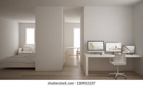 Small apartment with parquet floor, home workplace with corner desk in white living room, office in minimalist style, modern architecture concept, 3d illustration