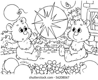 small bears playing with balloons