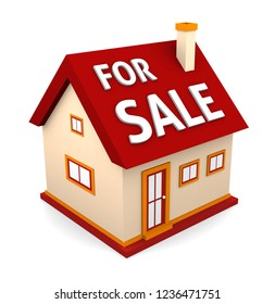 A small beautiful home for sale isolated on white background. 3d illustration