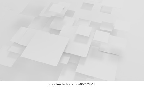 Small and big square cards on a white background - 3d render wallpaper high resolution