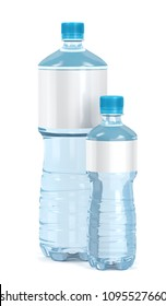Small and big water bottles with blank labels on white background, 3D illustration