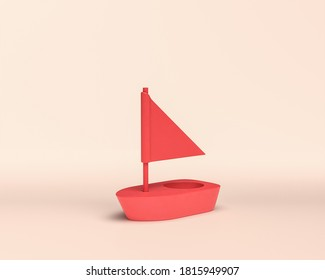 small boat, skiff, caique, Small Vehicle toy, 3d Icon, monochrome red color, flat and solid style, 3d Rendering