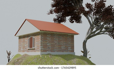 Small Brick isolated House 3D visualization in the countryside