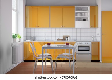 Small bright kitchen with kitchenette and a table in orange (3D Rendering)