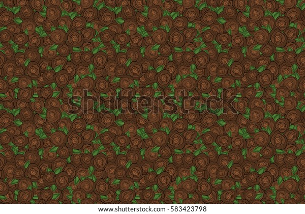 Small brown flowers. Spring raster floral background. Cute seamless pattern in small rose flowers. The elegant template for fashion prints.