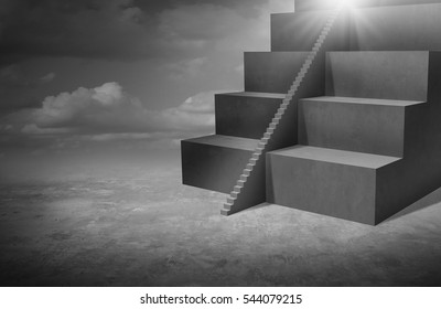 Small business opportunity and solutions as big stairs with tiny staircase as a success pathway for smaller companies or individuals with 3D illustration elements.