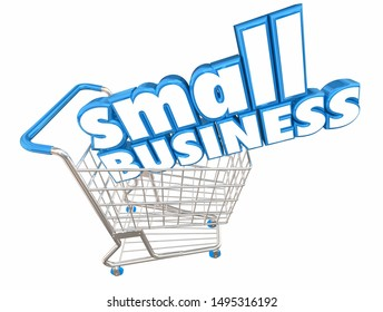 Small Business Shopping Cart Buy from Local Stores 3d Illustration