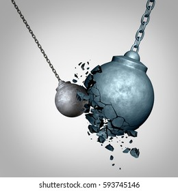 Small business winning and defeating a much larger opponent as a david and goliath metaphor with a tiny wrecking ball destroying a much larger sphere as a symbol for power as a 3D illustration.