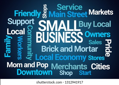 Small Business Word Cloud on Blue Background