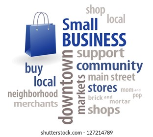 Small Business word cloud, shopping bag illustration with copy space. To encourage shopping at local stores, neighborhood merchants, community businesses and markets.