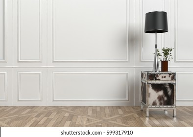 Small cabinet with modern retro-style metallic lamp and shade in a classical white panelled room with patterned hardwood parquet floor and copy space. 3d Rendering.