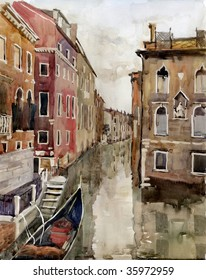 Small Canal in Venice. Italy. Watercolor