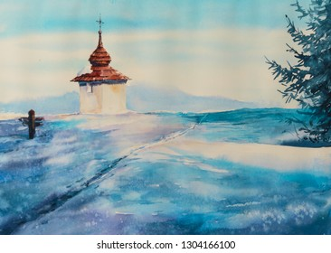 Small chapel in sunny winter day. Picture created with watercolors.