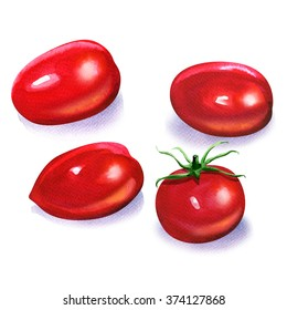 small cherry tomatoes isolated on white