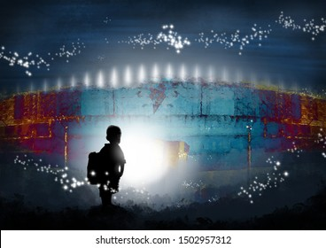 Small child with backpack on looks at glowing lights in surreal world.  Fantasy concept artwork. Original digital illustration.