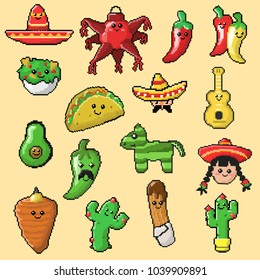 Small collection of mexican objects and food in pexel art.
