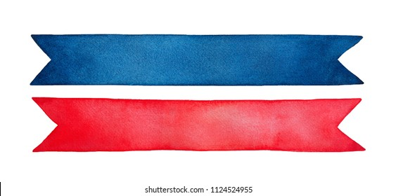 Small collection of two empty decorative ribbons, bright red and dark blue colours. Hand drawn watercolour graphic painting on white, isolated clip art elements for design, decor, scrapbooking.