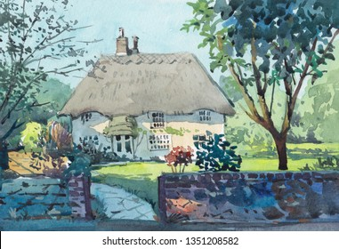 small cottage watercolor painting