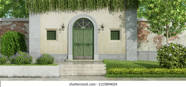 Small country house with wooden front door and gatden with lush vegatation - 3d rendering