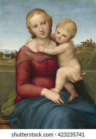 The Small Cowper Madonna, by Raphael, c. 1505, Italian Renaissance painting, oil on panel. Raphael painted this classic Renaissance Madonna and Child in Florence. The figures' interlocked pose shows
