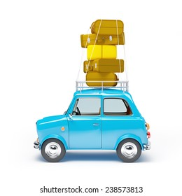small and cute blue retro travel car, side view with luggage on white background