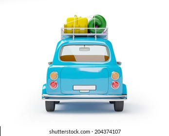 small and cute blue retro trip car, back view with luggage on white background