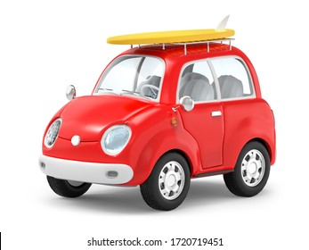 Small cute trip car with surfboard on roof rack isolated on white. 3d illustration