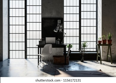 Small desk or writing table between long windows letting in sunlight in a modern attic conversion study or den with houseplants. 3d rendering