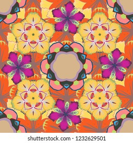 Small ditsy flowers for fabric design, dress, wallpaper and paper. Seamless pattern summer print in orange, yellow and beige colors.