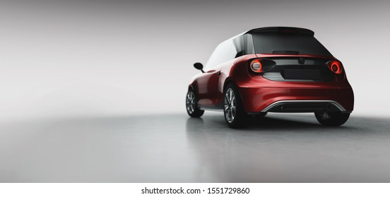 Small electric city car in studio. 3D illustration