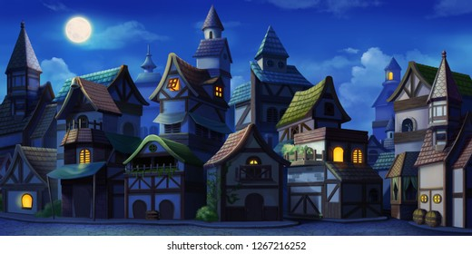 Small Fairy Tale Town Night. Fiction Backdrop. Concept Art. Realistic Illustration. Video Game Digital CG Artwork. Industry Scenery.
