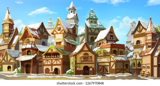 Small Fairy Tale Town in the Winter with Snow. Fiction Backdrop. Concept Art. Realistic Illustration. Video Game Digital CG Artwork. Industry Scenery.